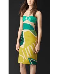 Burberry Printed Linen Bustier Dress - Lyst