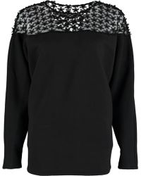 By Sun - Black Lace Shoulder Sweatshirt - Lyst