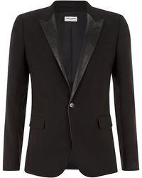 Saint Laurent Leather Lapel Tuxedo Jacket - Lyst