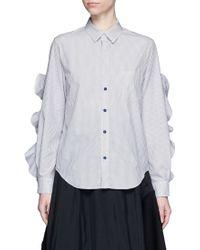 Toga Cutout Ruffle Sleeve Stripe Poplin Shirt - Black