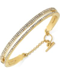 Vince Camuto - Gold-plated Two-layer Pave Bangle Bracelet - Lyst