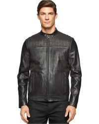 Calvin Klein | Premium Laser Cut Leather Jacket | Lyst
