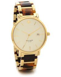 Kate Spade Gramercy Grand Chronograph Watch - Two Tone Tortoise - Lyst