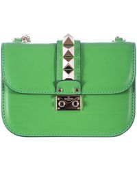 "Valentino Green Leather Small ""Lock"" Bag - Lyst"