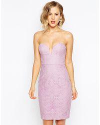 Forever Unique Lace Sweetheart Bandeau Dress - Lyst