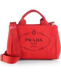 Prada Logo-Print Small Canvas Tote - Lyst