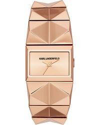 Karl Lagerfeld Unisex Perspektive Rose Gold-Tone Pyramid Stud Bracelet Watch - Lyst