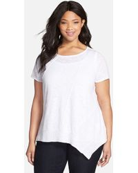 Eileen Fisher Organic Linen & Cotton Scoop Neck Cap Sleeve Top white - Lyst
