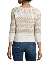 Todd And Duncan - Cashmere Sweater W/feather And Embellished Front - Lyst