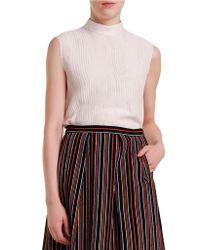 Nikki Chasin Mockneck Silk & Linen Top - White