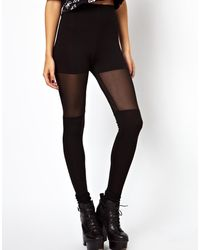 Asos Leggings with Over The Knee Mesh Detail - Lyst
