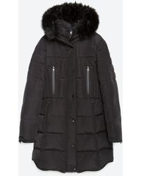 Zara | Long Quilted Coat With Detachable Faux Fur | Lyst