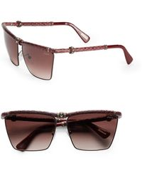 Lanvin Snake-Embossed Leather-Trim Square Sunglasses/Red - Lyst