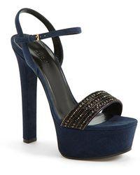 Gucci 'Leila' Suede Platform Sandal blue - Lyst