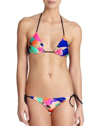 Shoshanna Confetti Squares Clean Triangle Bikini Top blue - Lyst