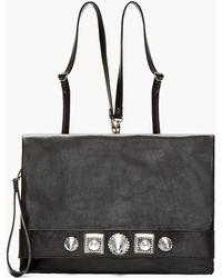 KTZ - Black Leather Carved Stud Flat Backpack - Lyst
