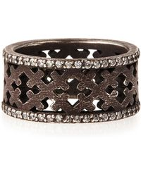 Katie Design Jewelry - Ebonized Silver Crosses Band Ring With Diamonds - Lyst