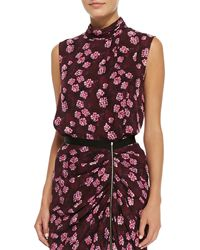 Band Of Outsiders Draped Cherry-blossom-print Top Plum 4 Uk 2 - Lyst