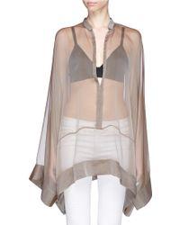 Haider Ackermann Long Kimono Sleeve Sheer Silk Blouse - Lyst