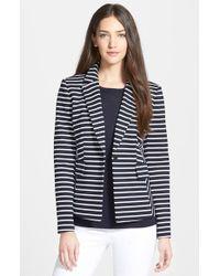 Nordstrom Collection 'Ester' Stripe Ponte Jacket - Lyst