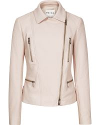 Reiss Mona Textured Leather Jacket - Lyst