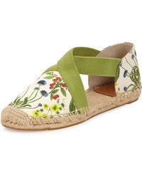 Tory Burch Catalina Strappy Printed Espadrille Flat Ivory 360b60b - Lyst