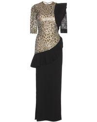 Alessandra Rich Stretch-Silk Dress With Ruffles gold - Lyst