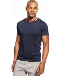 Tommy Hilfiger Collar Stripe V-Neck T-Shirt blue - Lyst