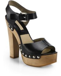 Michael Kors Annabell Studded Leather Platform Sandals - Lyst