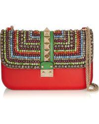 Valentino Lock Medium Crystal-Embellished Leather Shoulder Bag - Lyst