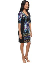 Maggy London Mirrored Prism Scuba Sheath W Zip Front Dress - Lyst