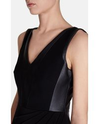 Karen Millen Jersey and Faux Leather Dress - Lyst