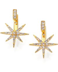 Elizabeth And James Astral Paveacute White Topaz Ear Jacket  Stud Earrings - Lyst