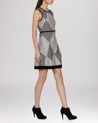 Karen Millen Dress - Geometric Tribal Knit black - Lyst