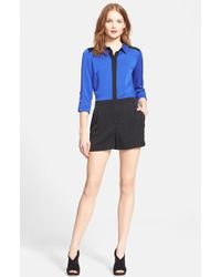 Milly Women'S Colorblock Stretch Silk Crepe Romper - Lyst
