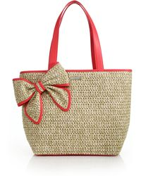 Kate Spade Belle Place Straw & Leather Bow Tote red - Lyst