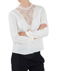 Sea Pintucked Lace Combo Blouse - Lyst