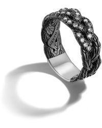 John Hardy Black Ruthenium Plating Braided Band Ring - Lyst
