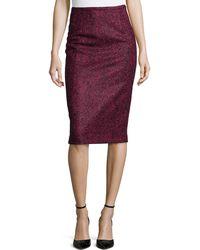Michael Kors Herringbone Pencil Knee-Length Skirt purple - Lyst