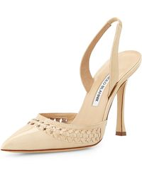 Manolo Blahnik Nave Woven Patent Leather Pump - Lyst