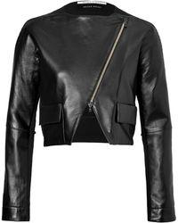 Roland Mouret Leatherwool Blend Cropped Jacket - Lyst