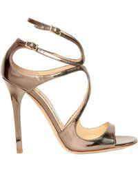 Jimmy Choo 100mm Lang Metallic Calfskin Sandals - Lyst