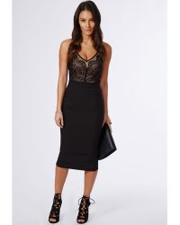 Missguided Pennie Strappy Lace Top Midi Dress Black - Lyst