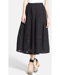 Michael Kors Floral Embroidered Pleated Midi Skirt - Lyst