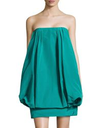Oscar de la Renta Silk Strapless Bubble Dress - Lyst