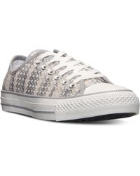 Converse Womens Chuck Taylor Ox Sequin Casual Sneakers From Finish Line - Lyst