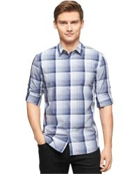 Calvin Klein Large Tonal End-On-End Plaid Shirt - Lyst