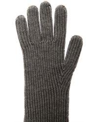 Stella McCartney Long Ribbed-Knit Wool Gloves - Gray