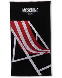 Moschino Swim Black  Red Printed Beach Towel - Lyst