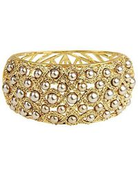 Saachi | Pearl And Crystal Embellished Bangle | Lyst